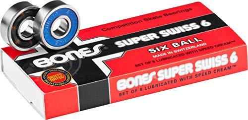 Bones Bearings Bearings Super Swiss 6 Balls - Rodamiento de Skateboard, Talla 2 x 0.5 x 2
