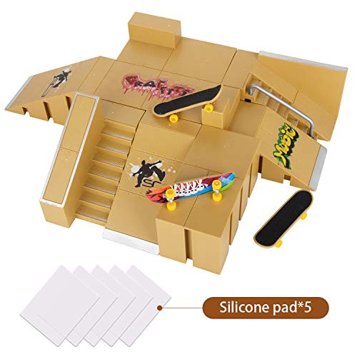 KidsHobby 8PCS Kit de Rampas Skatepark del Patin Mini Dedo Monopatin Patín del Dedo Fingerboards Parques Tablero Juguete Divertido Regalo Creativo para Niños(8 Pieza del Parque+3 Mini Patín del Dedo)