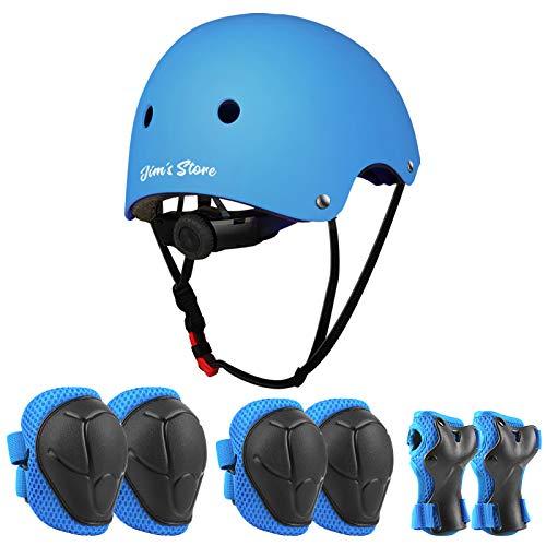 JIM'S STORE Casco y Protecciones Ajustable Infantiles Rodilleras Coderas,Set di Casco 7 Piezas para Scooter Ciclismo Rodillo Patinaje Aire Libre Deportes