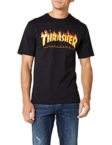THRASHER Flame Camiseta, Unisex Adulto, Black, S