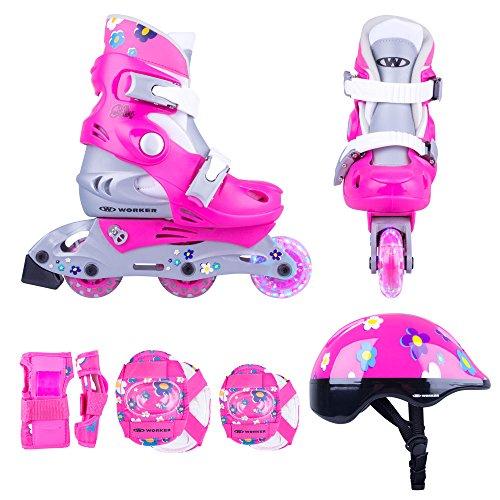 Juego de patines infantiles de línea Polly LED con ruedas iluminadas, tallas 26-29, 30-33,ajustables, set de protección, casco, infantil, 13362, rosa, 30-33 verstellbar